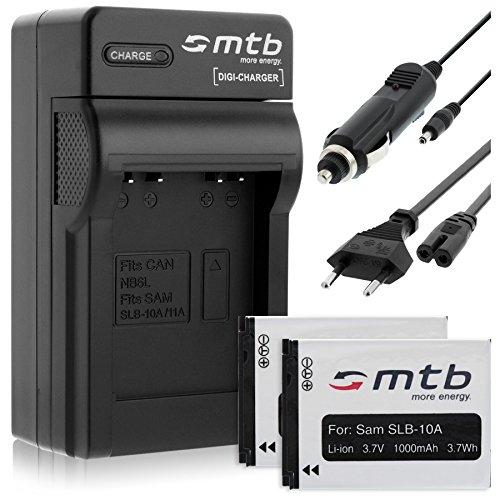 2 Baterìas + Cargador (Coche/Corriente) para Samsung SLB-10A / ES50. L100, PL, SL, TL, WB Ver Lista