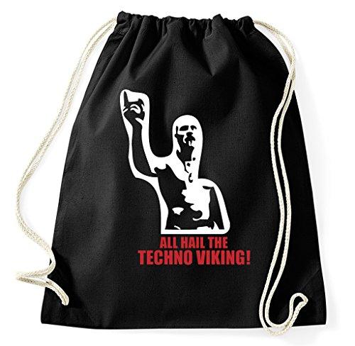 Styletex23 All Hail The Techno Viking Turnbeutel Sportbeutel, schwarz