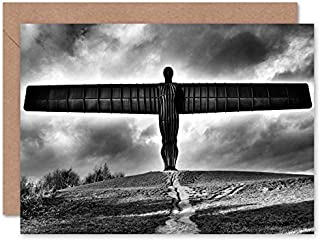 Fine Art Prints Angel Of The North Black And White Greeting Card With Envelope Inside Premium Quality