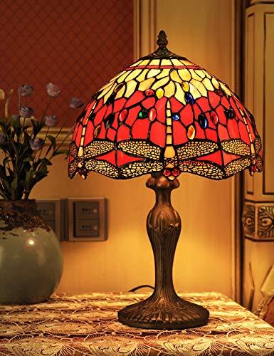 12-Zoll-europäischen Vintage-Stil Glasmalerei Libelle und Perle Warm Farbige Serie Tischlampe Schreibtischlampe Nachttischlampe