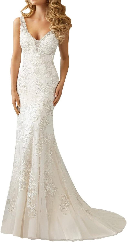 MILANO BRIDE Elegant Sheath Vneck Beading Lace Backless Bridal Wedding Dress