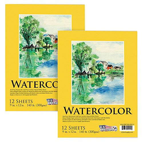 U.S. Art Supply 22,86 cm x 30,48 cm Premium Heavy-Weight Watercolor Painting Paper Pad, 100 kg (300 gsm), Pad de 12 folhas (pacote com 2 blocos)