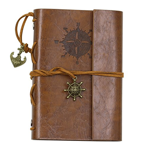 Bluelans Leather Writing Journal Notebook, EvZ 5 Inches Vintage Nautical Spiral Blank String Diary Notepad Sketchbook Travel to Write in, Unlined Paper, Retro Pendants, Classic Embossed, Brown