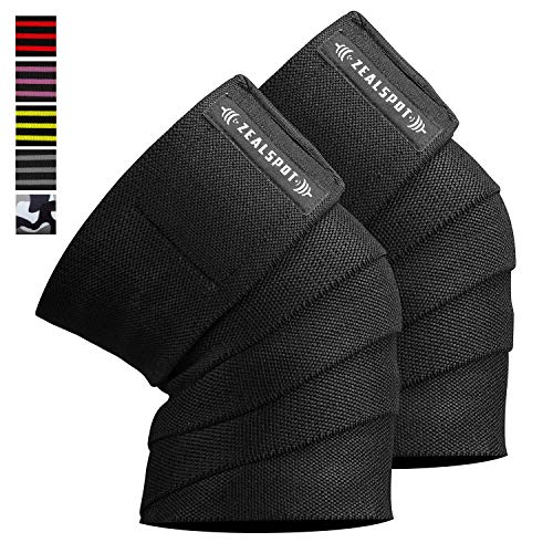 Zealspot Knee Wraps(Pair) Compression & Elastic Support for Cross Training,WODs,Gym, Workout,Weightlifting,Fitness & Powerlifting – Best Knee Straps for Squats -For Men & Women-72 inches (Black(Pair))