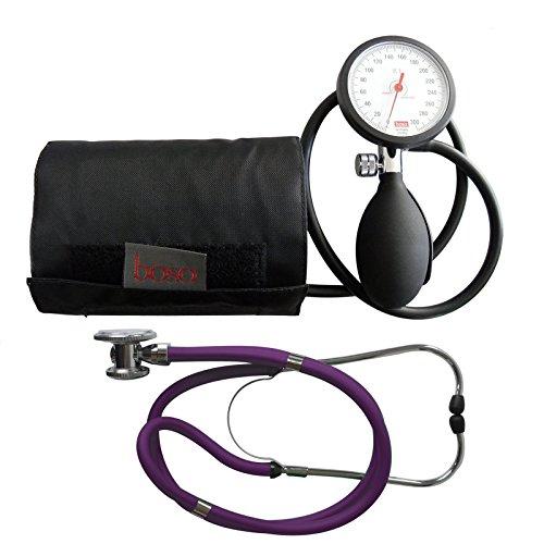 Blutdruckmessgerät Oberarm Boso K 1 shock protected + Rappaport Doppelkopf Stethoskop violett Stetoskop Doppelkopfstethoskop Tiga-Med