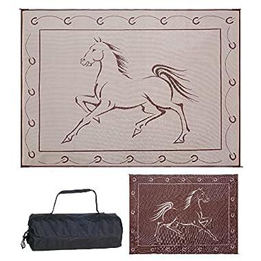 Reversible Mats 219127 Outdoor Patio/RV Camping Mat - Hunter Mat (Brown/Beige Horse Design), 9 Feet x 12 Feet