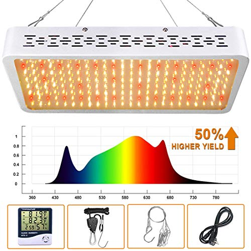 ONEO Led Grow Light 1000W Full Spectrum Sunlight 3500K White and 660nm Red Added Grow Lights for Indoor Plants, Better for Full Growth Flowering Fruiting Veg Seedling with Thermometer Hygrometer