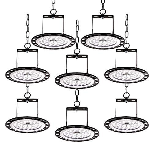 8er 100W UFO LED-Leuchten LED-Scheinwerfer 11900lm 6500k Kaltweiß LED High Bay Light Hall Flutlicht Werkstattlampe Lagerbeleuchtung für Ausstellungshalle, Hallenstadion, Parkhaus, Logistikzentren