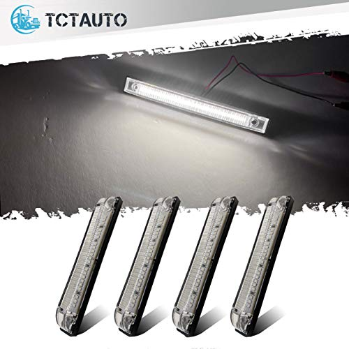 "TCTAuto 6"" White Marine Boat LED Utility Strip Lights Bar 21LEDs Surface Mount for Caravans RV UTV Side Marker Interior Light Waterproof 12V, Pack of 4"