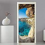 FLFK 3D Paisaje Marino de la Cueva PVC Adhesivo Fotográfico Vinilos Puerta Pegatina Pared Murales para Cocina Sala de Baño Decorativos 77X200cm