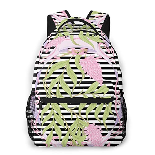 Dataqe Freizeitrucksack Classic Light Rucksack für Damen und Herren, College-Tasche für Männer und Frauen, Reisetasche für Reisen, College, Schule, blühende rosa Akazie im Jugendstil