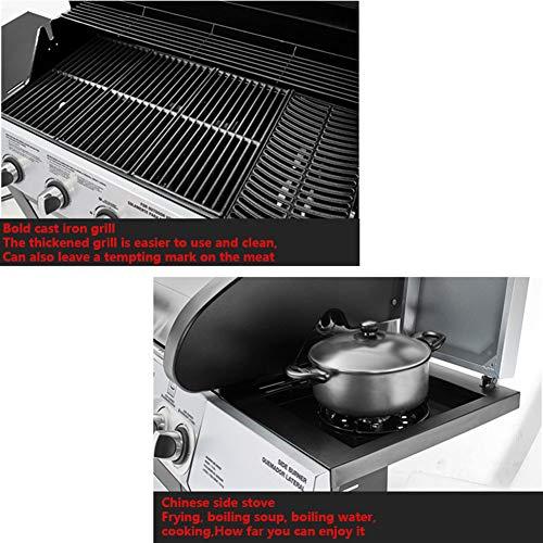 51IXHWzIHqL - Gasgrill, BBQ Grillwagen Mit 5 Edelstahlbrennern Und Seitenkocher, Standgrill Mit Deckel Und Thermometer, Reinigungssystem