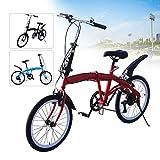 Bicicleta plegable, 20 pulgadas, 7 velocidades, freno en V, bicicleta plegable, altura ajustable, 70 – 100 mm (rojo)