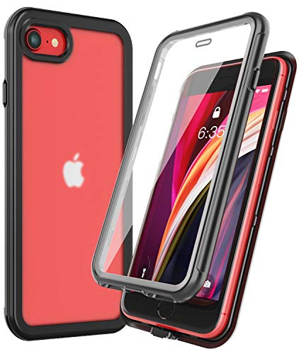 RedPepper for iPhone SE 2020 Case/iPhone 8 /iPhone 7 Case,Matte Clear Full-Body with Built-in Screen Protector Shockproof Protective Case for iPhone SE 2020/iPhone 8/7 4.7 inch (Black)