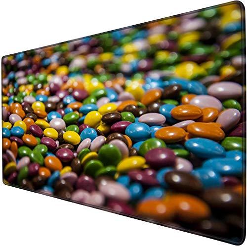 mauspad groß gaming Bunte Schokoladenbohnen Spiel Mauspad Übergroße wasserdichte rutschfeste Kantenanleimung Schreibtischunterlage