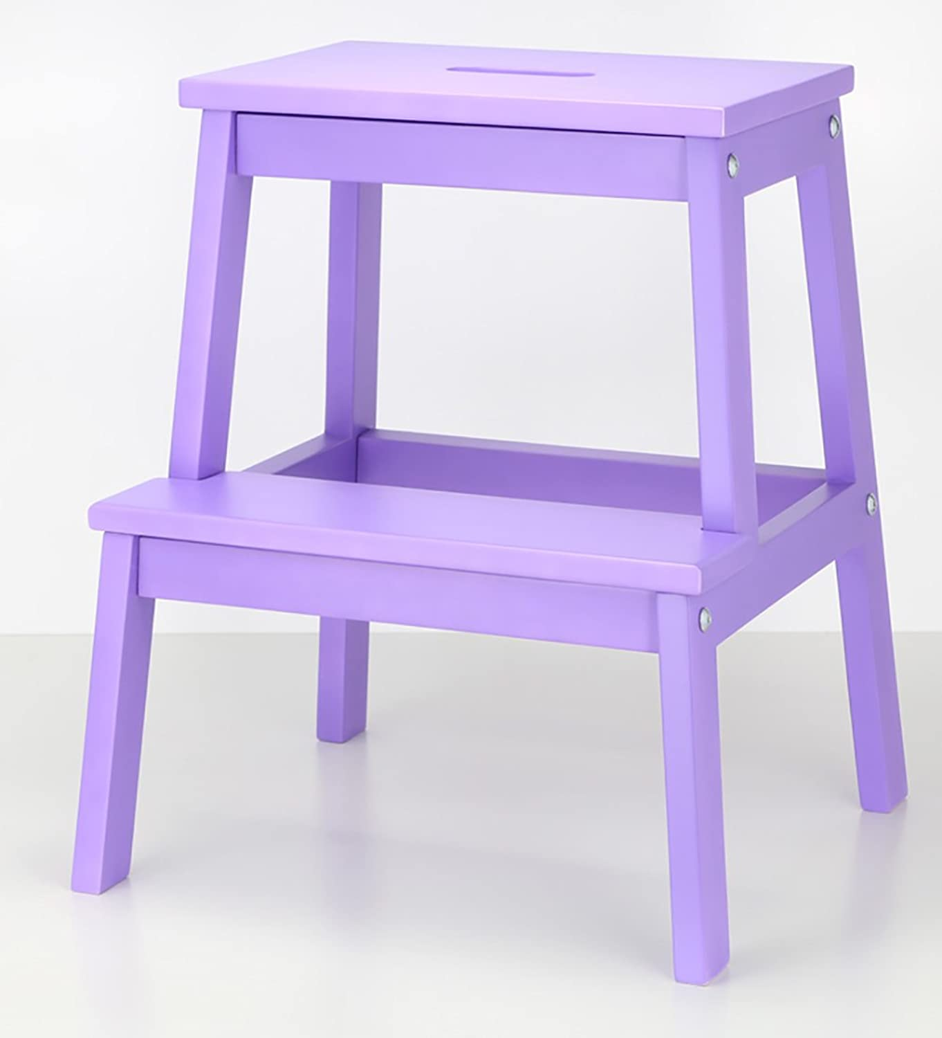WUFENG Step stool Solid wood With hole Household Change shoes Double layer 20 Styles Available ( color   Large purple )
