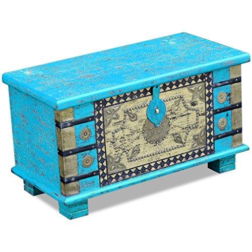 Festnight Abschließbar Aufbewahrungstruhe aus Mangoholz Dekorative Truhe Aufbewahrungsbox als Kaffeetisch Retro-Stil 80x40x45cm Blau - 4