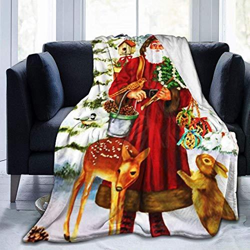 AEMAPE Manta Invierno Bosque Ciervo Conejo Manta Manta cálida para Acampar Colchas para Hombres Colchoneta para Dormir de Doble Cara Cubierta para Todas Las Estaciones 60 'x50'