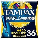 Tampax Compak Pearl Regular Con Aplicador, Óptimo Tampón Tampax En Comodidad, Protección Y Discreción, 36 Unidades