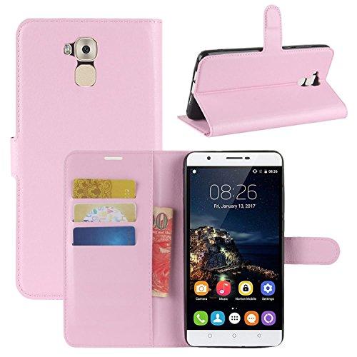 HualuBro Oukitel U16 Max Hülle, Premium PU Leder Leather Wallet HandyHülle Tasche Schutzhülle Flip Hülle Cover für Oukitel U16 Max Smartphone (Pink)
