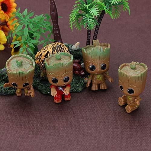 4 UNIDS Mini Groot Doll Llavero Juguetes para Niños Guardianes Galaxy Baby Treeman Llavero Colgante Figuras de Acción Decoración de la tabla