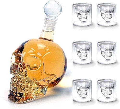 Decantadores Creatividad Cráneo De Vidrio Botella Set 350ml / 500ml / 1000ml con 6 Gafas Taza Vodka Vino Botella Barra Herramienta JXLBB (Size : 1000ML)