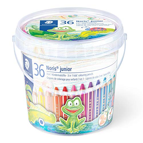 Staedtler 140 C36 3in1 Buntstift Noris junior (Bunt-, Wachsmal- und Aquarellstift, extra bruchsicher, ideal für Kinder, für viele Oberflächen, Classpack mit 36 Stiften inkl. 3 Spitzern)