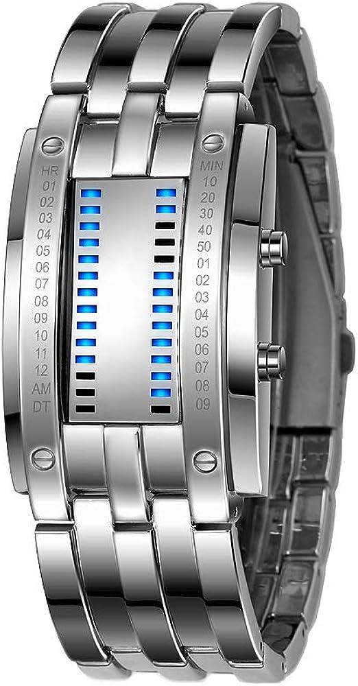 FeiWen Binario Relojes Digitales de Hombre y Mujer Rectangular Acero Inoxidable del Bisel Azul LED Luminosidad Fashion Unico Casual Calendario Reloj de Pulsera, Plateado