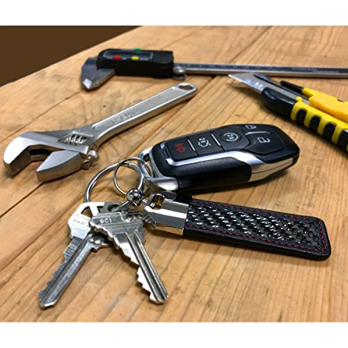 iPick Image Honda Civic Type R Real Carbon Fiber Leather Key Chain with Red Stitching