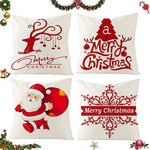 Sunshine smile 4 Pack Natale federe Cuscini,Fodere per Cuscini Decorate,Christmas Fodere per Cuscini,Fodere per Cuscini Natale,copricuscini Divano Natale,Fodere per Cuscini Divano (D)