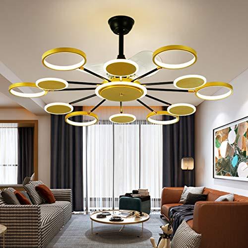 Dagea Moderno LED Colgante de luz con Ventilador 110W Remoto Control Regulable Silenciar Ventilador Iluminación 12 Lámpara Ajustable Forma Ventilador Candelabro por Sala Cuarto Comedor El 120CM,Oro