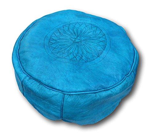 Pouff de cuero marroquí hecho a mano, mide 40 cm de diámetro y 35 cm de alto. Sin relleno, lo puede ud rellenar con trapos, papel de periodicos o goma espuma.