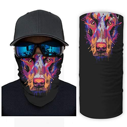 Hothotvery - Pañuelo unisex con estampado de pinchos y salpicaduras, multifuncional, protección UV blanco Talla única