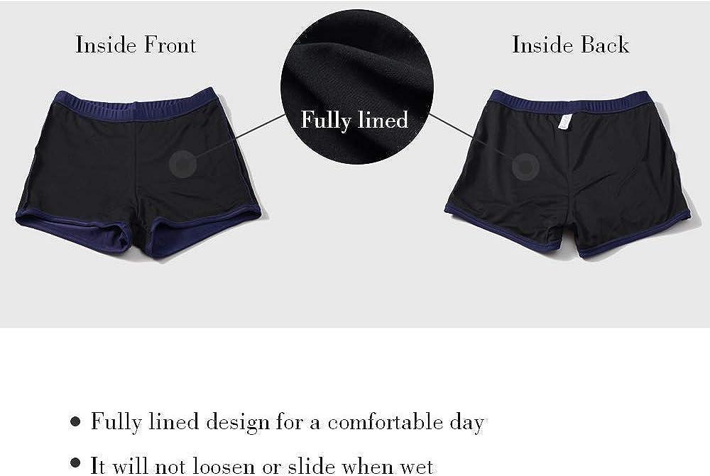 ATTRACO Womens High Waisted Swim Shorts Boy Shorts Swimwear Tankini Swim Bottoms