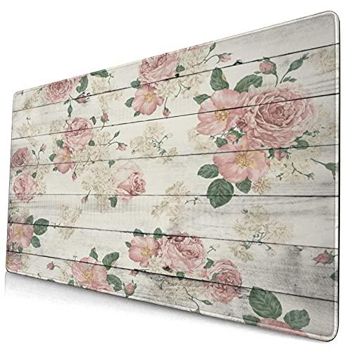 Alfombrilla de ratón para juegos grandes,Tablón de madera de país retro Floral Vintage,Protector de almohadilla de escritorio antideslizante,Tapete de escritorio para escritorio,computadora portátil