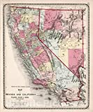 Historic Pictoric Map : Map of Nevada and California, 1871, Vintage Wall Decor : 24in x 30in