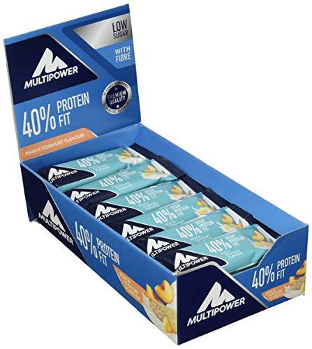 Multipower 40% Protein Fit – 24 x 35 g Eiweißriegel Box – Pfirsich Joghurt – Fitnessriegel mit 40 % hochwertigem Milchprotein – 14 g Eiweiß pro Proteinriegel