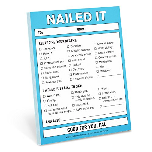 Knock Knock Nailed It Nifty Note, Checklist Memo Pad, 4 x 5.25-inches