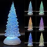 TRONJE LED Christbaum 27cm Weihnachtsbaum mit Timer USB Tannenbaum beleuchteter Acrylbaum Wechselfarben