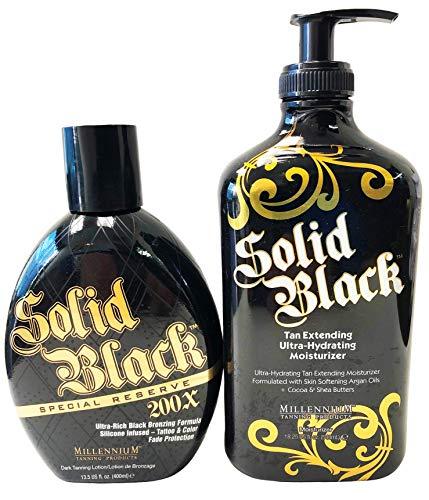 2-PACK Millennium Tanning SOLID BLACK SPECIAL RESERVE 200X Bronzer 13.5 oz & SOLID BLACK TAN EXTENDER Moisturizer Lotion 18.25 oz