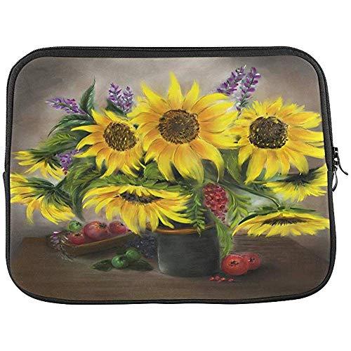 Olieverfschilderij Zonnebloemen in een vaas Sleeve Zachte Laptop Case Bag Pouch