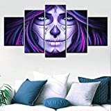 KWzEQ 5 Carteles de Panel HD e Impresiones de Lienzo Halloween Wall Artist Home Decorate Painting Wall Picture,Pintura sin Marco,40x60cmx2, 40x80cmx2, 40x100cmx1