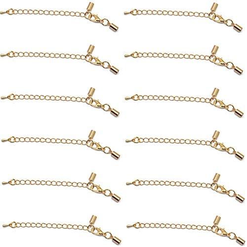B Baosity 12 Piezas Collar de Correa de Cuero con Cadena de Extensión de Cola de Broche de Langosta de Oro 62 Mm