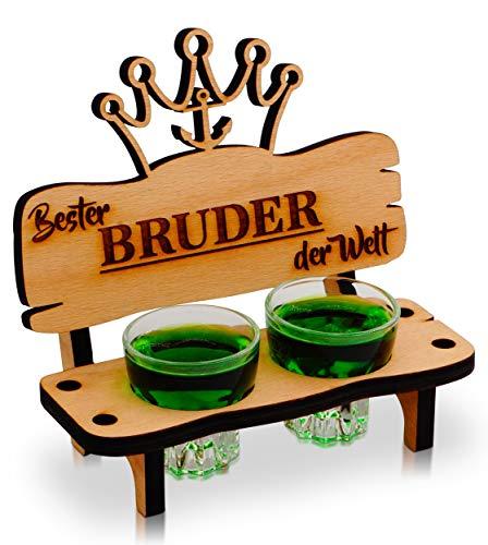 Banco de chupito con vaso de chupito y vela, decoración de ancla y corazón regalo – Mejor hermano del mundo