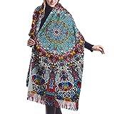 Women's Indian Trippy Mandala Floral Scarf Pashmina Shawls Wraps, Soft Infinity Evening Dresses Shawl Wrap - 77x27 inch, Winter Luxurious Blanket