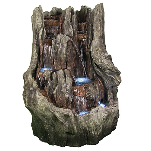 Sunnydaze Decor Cascading Mountain Falls Outdoor Water Fountain with LED Lights, 53 Inch Tall