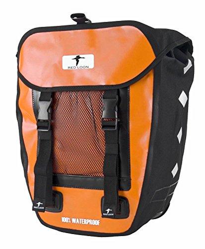 Red Loon 1 x robuste Fahrradtasche aus LKW-Plane – wasserdichte Packtasche für Gepäckträger in Orange