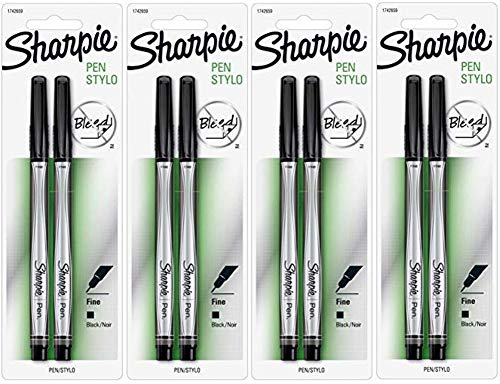 Sharpie 1742659 Fine Point Pens, Blister of 2 Pens, 4 Blisters, Total 8 Pens, Black Quick-drying Ink