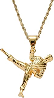 Hip Hop Iced Out Kung Fu Taekwondo 18K Gold Plated Chain Necklace for Men Women