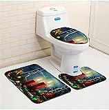 Hbao 3 piezas 3D Navidad estampado estampado de baño conjunto anti resbalón alfombra portero de plomo cubierta baño asiento baño alfombra accesorios para baño (Color : E, Size : 500MMx800MM)